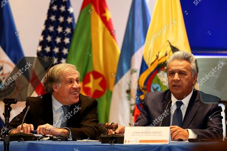 Ecuadorian President Lenin Moreno (R) talks with OAS General Secretary Luis Almagro (L) during the opening of the VII Meeting of Ministers Responsible for Public Security of the Americas (MISPA) in Quito, Ecuador, 30 October 2019. Moreno and Almagro inaugurated the VII Meeting of Ministers Responsible for Public Security in the Americas (MISPA) with a call to promote greater regional cooperation against organized crime.