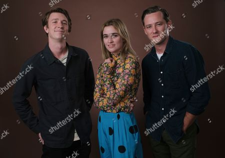 "Thomas Mann, Alice Englert, Lewis Pullman. Thomas Mann, from left, Alice Englert and Lewis Pullman, cast members in the film ""Them That Follow,"" pose together for a portrait in Los Angeles"