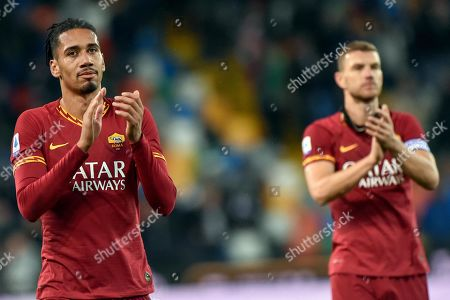 AS Roma's Christopher Lloyd Smalling (L) celebrates with his teammates after the end of the Italian Serie A soccer match Udinese Calcio vs AS Roma at the Friuli-Dacia Arena stadium in Udine, Italy, 30 October 2019.