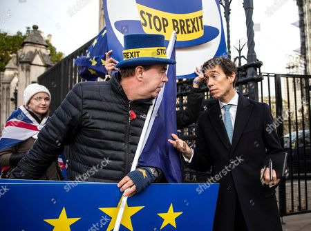 Former Conservative MP Rory Stewart outside Houses of Parliament talking to Anti-Brexit campaigner Steve Bray