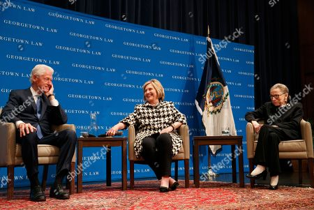Ruth Bader Ginsberg, Bill Clinton, Hillary Clinton. Former President Bill Clinton, left, former Secretary of State Hillary Clinton, and Supreme Court Justice Ruth Bader Ginsberg take their seats to speak, at Georgetown Law's second annual Ruth Bader Ginsburg Lecture, in Washington
