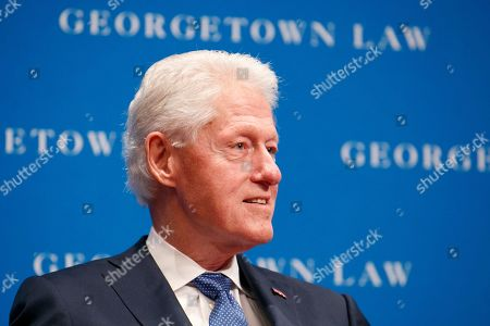 Former President Bill Clinton speaks, at Georgetown Law's second annual Ruth Bader Ginsburg Lecture, in Washington
