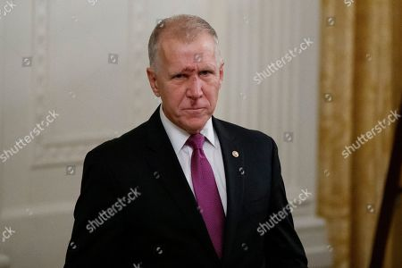 Stock Picture of Sen. Thom Tillis, R-N.C., arrives for a Medal of Honor Ceremony for U.S. Army Master Sgt. Matthew Williams, currently assigned to the 3rd Special Forces Group, in the East Room of the White House, in Washington
