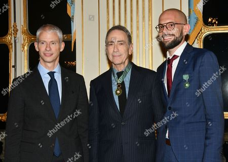 Franck Riester (Minister of Culture), Alain Chamfort and Ludovic Martin during the ceremony to award insignia.