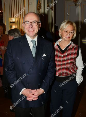 Bernard Cazeneuve and his wife Veronique Beau at the ceremony presenting insignia to members of the Order of Arts and Letters.