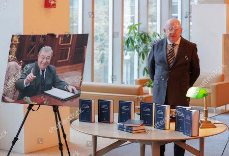 Editorial picture of Vassily Nebenzia presents Yevgeny Primakov compendium of academic works, Dag Hammarskjold Library, New York, USA - 29 Oct 2019