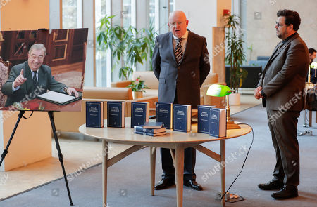 Editorial image of Vassily Nebenzia presents Yevgeny Primakov compendium of academic works, Dag Hammarskjold Library, New York, USA - 29 Oct 2019