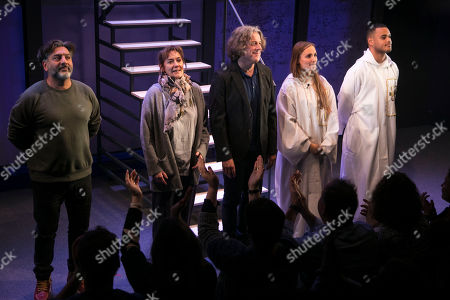 Stock Image of Nitin Ganatra (Tim), Alexandra Gilbreath (Virginia), Alan Davies (Henry), Leila Mimmack (Edie) and Adam Strawford (Interlocuter/Billy) during the curtain call