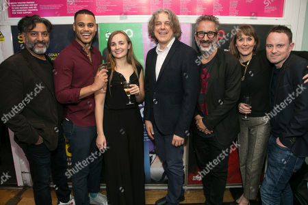 Stock Photo of Nitin Ganatra (Tim), Adam Strawford (Interlocuter/Billy), Leila Mimmack (Edie), Alan Davies (Henry), David Baddiel (Author), Alexandra Gilbreath (Virginia) and James Grieve (Director)