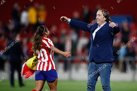 Pablo Lopez Salgado, head coach of Atletico de Madrid from Spain, celebrates the victory with Leicy Santos, player of Atletico de Madrid from Colombia,