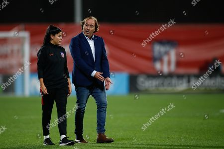 Pablo Lopez Salgado, head coach of Atletico de Madrid from Spain, walks