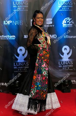 Mexican-American singer Lila Downs poses for photographers as she arrives to the Lunas del Auditorio awards show at the Mexico National Auditorium in Mexico City