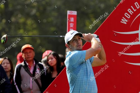 Francesco Molinari of Italy tees off for the HSBC Champions golf tournament held at the Sheshan International Golf Club in Shanghai on . The HSBC Champions, which starts Thursday as the final World Golf Championship of the year, is Molinari's next chance to rebuild what seemingly was lost in a day at the Augusta Masters