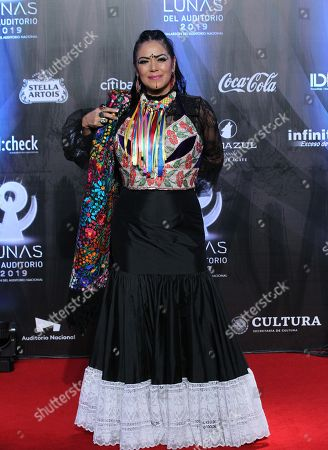 Lila Downs poses on the red carpet as she arrives at the 'Las Lunas del Auditorio 2019' awards ceremony in Mexico City, Mexico, 30 October 2019.