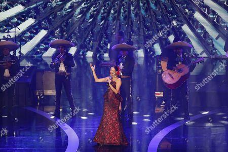 Natalia Jimenez (C) performs on stage during 'Las Lunas del Auditorio 2019' awards ceremony in Mexico City, Mexico, 30 October 2019.