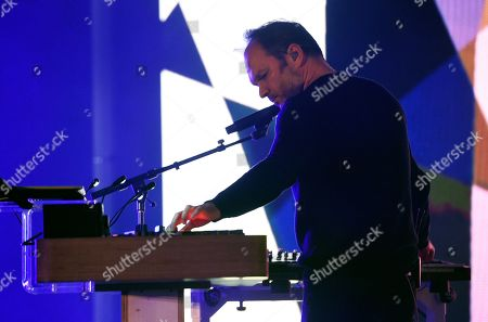 Nigel Godrich performs as part of Thom Yorke's band at the Greek Theatre, in Los Angeles