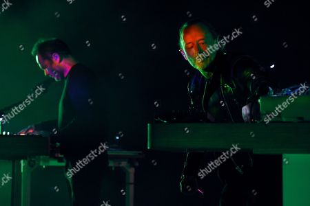 Thom Yorke, Nigel Godrich. Thom Yorke, right, performs alongside band member Nigel Godrich at the Greek Theatre, in Los Angeles