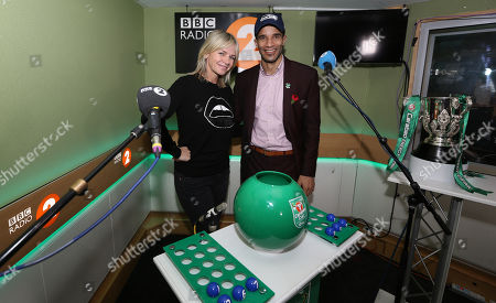 Zoe Ball and David James with the Carabao Cup trophy
