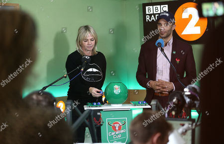 Zoe Ball and David James during the Carabao Cup trophy draw