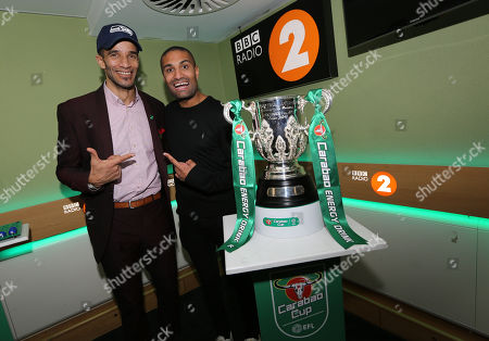 Richie Anderson BBC Radio 2 presenter and David James with the Carabao Cup trophy