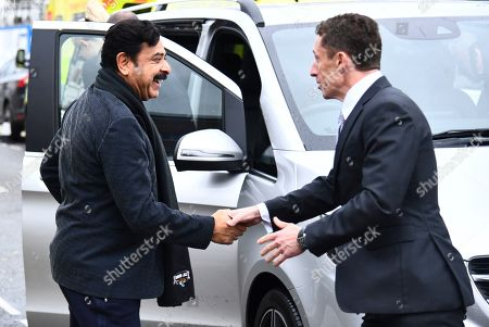 Fulham Chairman and owner Shahid Khan greets Fulham CEO Alistair Mackintosh