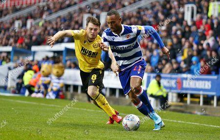 Jordan Obita of Reading  and Ben Thompson of Millwall