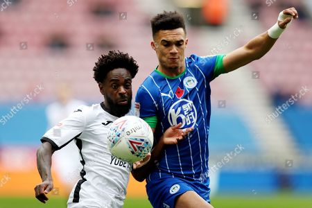 Antonee Robinson of Wigan Athletic and Nathan Dyer of Swansea City