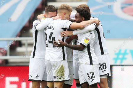Nathan Dyer of Swansea City celebrates scoring the 1st goal