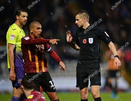 James Vaughan of Bradford City appeals for a decision from the referee Michael Salisbury