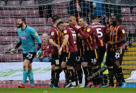 James Vaughan of Bradford City celebrates scoring their second goal with team mates