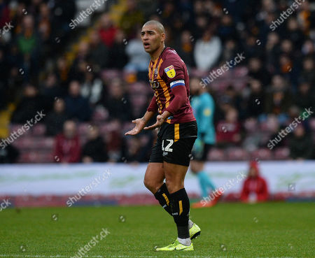 James Vaughan of Bradford City appeals for a decision from the referee