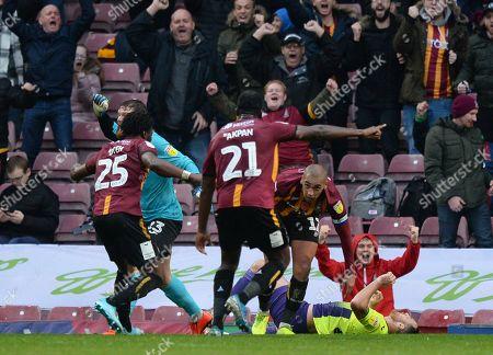 James Vaughan of Bradford City celebrates scoring their second goal