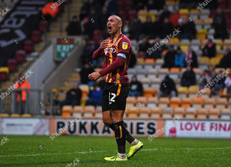 James Vaughan of Bradford City rues a missed chance on goal