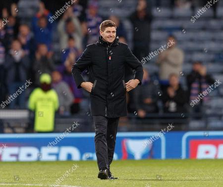 Rangers Manager Steven Gerrard smiles after the final whistle. Final score Rangers 3 Heart of Midlothian 0.