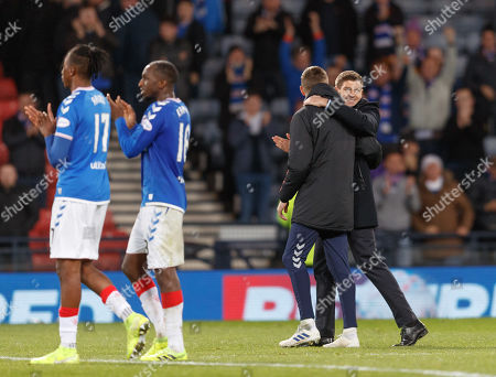 Rangers Manager Steven Gerrard celebrates  after the final whistle. Final score Rangers 3 Heart of Midlothian 0.