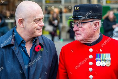 Ross Kemp Launches London Poppy Day 2019 with Chelsea Pensioner Colin Thackery (winner of Britain's Got Talent 2019) and Magician Corporal on Liverpool Street Station, central concourse
