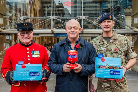 Ross Kemp Launches London Poppy Day 2019 with Chelsea Pensioner Colin Thackery (winner of Britain's Got Talent 2019) and Magician Corporal of the Horse Richard Jones (2016 Britain's Got Talent winner) and The British Army Band on Liverpool Street Station, central concourse