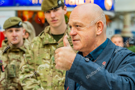 Ross Kemp meets members of the Royal Anglians (who he filmed with in Afghanistan) as he launches London Poppy Day 2019 on Liverpool Street Station, central concourse
