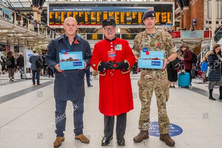 Ross Kemp Launches London Poppy Day 2019 with Chelsea Pensioner Colin Thackery (winner of Britains got Talent 2019) and Magician Corporal of the Horse Richard Jones (2016 Britain?s Got Talent winner) and The British Army Band on Liverpool Street Station, central concourse - 2000 service personnel join forces with veterans, volunteers and celebrities in an attempt to raise £1m in a single day for The Royal British Legion during London Poppy Day.