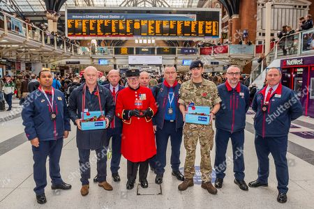 Ross Kemp Launches London Poppy Day 2019 with Chelsea Pensioner Colin Thackery (winner of Britains got Talent 2019) and Magician Corporal of the Horse Richard Jones (2016 Britain?s Got Talent winner) and members of London Underground staff on Liverpool Street Station, central concourse - 2000 service personnel join forces with veterans, volunteers and celebrities in an attempt to raise £1m in a single day for The Royal British Legion during London Poppy Day.