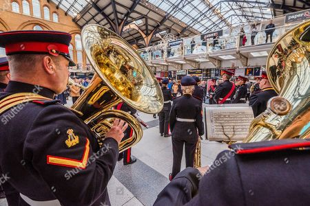 The British Army Band plays to a large audience of commuters - Ross Kemp Launches London Poppy Day 2019 on Liverpool Street Station, central concourse - 2000 service personnel join forces with veterans, volunteers and celebrities in an attempt to raise £1m in a single day for The Royal British Legion during London Poppy Day.