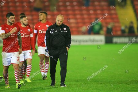 1st November 2019, Oakwell, Barnsley, England; Sky Bet Championship, Barnsley v Bristol City : Adam Murray caretaker manager of Barnsley FC leads his side off after a dramatic last minute equaliser