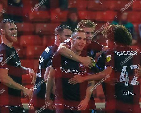 1st November 2019, Oakwell, Barnsley, England; Sky Bet Championship, Barnsley v Bristol City : Andreas Weimann (14) of Bristol City celebrates his goal to make it 0-2 Credit: Craig Milner/News Images
