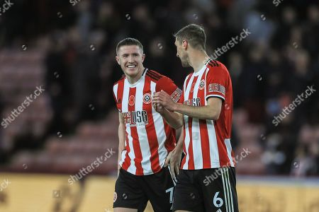 2nd November 2019, Bramall Lane, Sheffield, England; Premier League, Sheffield United v Burnley : John Lundstram (7) of Sheffield United and Chris Basham (6) of Sheffield United celebrate their 3-0 win over Burnley 