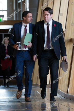 Stock Picture of Scottish Parliament First Minister's Questions - Anas Sarwar and Neil Bibby, make their way to the Debating Chamber.