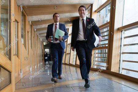 Stock Photo of Scottish Parliament First Minister's Questions - Anas Sarwar and Neil Bibby, make their way to the Debating Chamber.