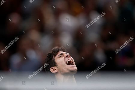 Cristian Garin of Chile celebrates his win against Jeremy Chardy of France in their round of sixteen match at the Rolex Paris Masters tennis tournament in Paris, France, 31 October 2019.