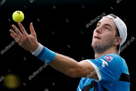 Jan-Lennard Struff of Germany in action against Jo-Wilfried Tsonga of France during their round of sixteen match at the Rolex Paris Masters tennis tournament in Paris, France, 31 October 2019.