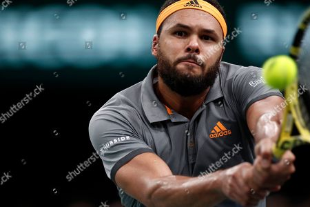 Jo-Wilfried Tsonga of France in action against Jan-Lennard Struff of Germany during their round of sixteen match at the Rolex Paris Masters tennis tournament in Paris, France, 31 October 2019.