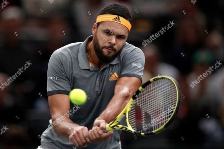 Stock Picture of Jo-Wilfried Tsonga of France in action against Jan-Lennard Struff of Germany during their round of sixteen match at the Rolex Paris Masters tennis tournament in Paris, France, 31 October 2019.